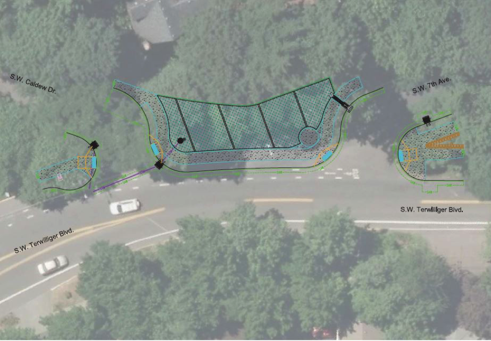 Figure 1: Neighborhood Greenway Project at SW Terwilliger Blvd. at SW Caldew Dr. & SW 7th Avenue (image from PBOT